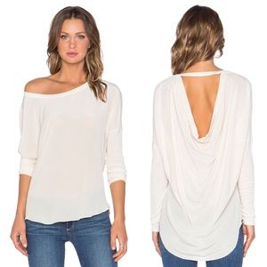 Chaser Silk Drape Scoop Back Tee Top M